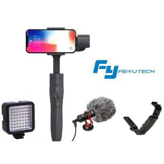 Feiyu Vimble2 + Ulanzi LED + Boya MM1 Directional Microphone + L-Bracket