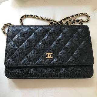 Chanel WOC wallet on chain 黑金牛皮