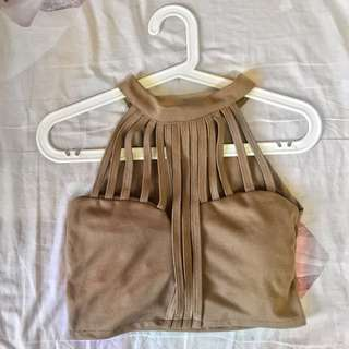 Caged bralette top (khaki)