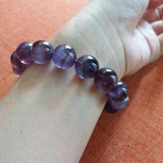 靚色天然紫黃晶圓珠串