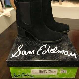 Sam Edelman Black Suede Boots Sz 4