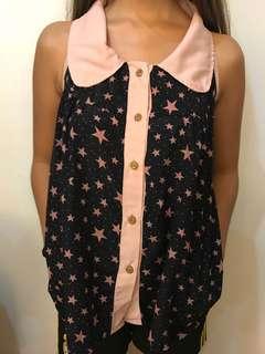 Starry collared sleeveless