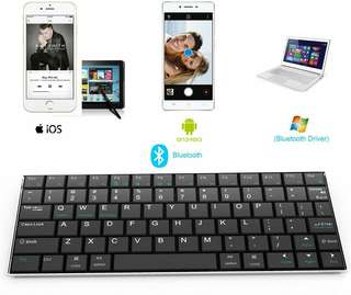 Ultra Slim Rii i9 Bluetooth 3.0 Wireless Keyboard With Stainless Stand Cover