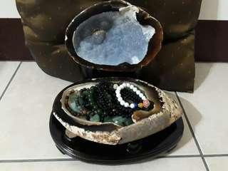 🚚 瑪瑙拋光聚寶盆+玉石+手珠