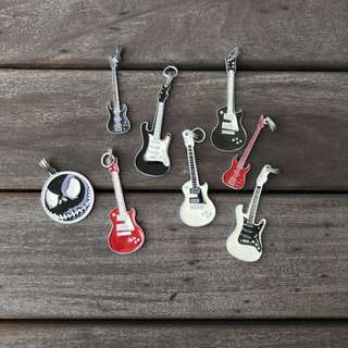 Assorted Antique Silver Guitar Charms - Charms clearance!