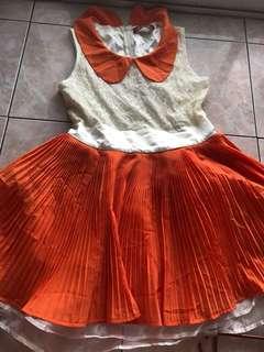 White-Orange Pleated Tutu Dress