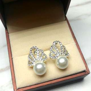 日本高貴閃亮水晶珍珠耳環 Japanese Noble Shiny Crystal Pearl Earrings
