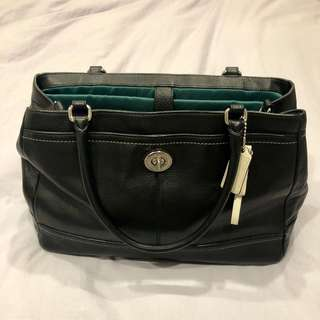 Black Leather Coach Laptop Bag
