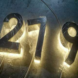 Signage Back lit Stainless steel LED Home number, 12cm high 3D led doorplate number led light-up address house numbers