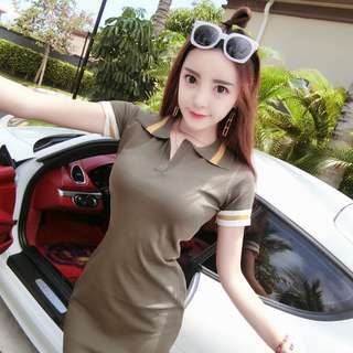[PRE-ORDER] Women Sweet Fashion Short Sleeve Slim Fit Collared Polo Dress Skirt [Army Green/Pink]