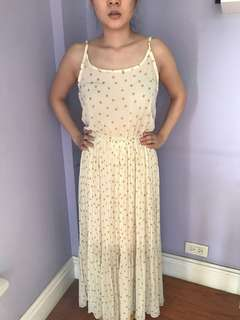 Cream chiffon w gold polka maxi dress