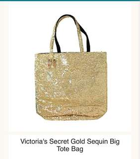 Victoria's Secret Gold Sequin Tote Bag