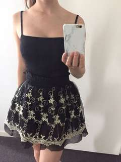 Black And Gold Floral Skirt