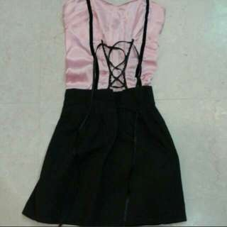 Pink And Black Lace Up Corset Dress