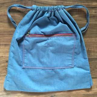 Denim String Bag