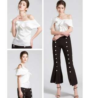 Ladies one shoulder ruffles blouse