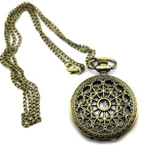 The Renaissance Bronze Vintage Intricate Stopwatch Necklace Chain