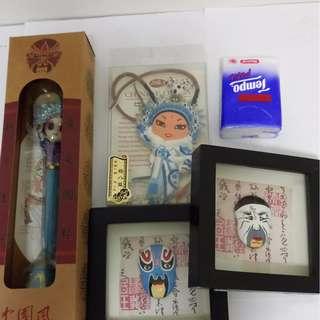 京劇 臉譜 中國傳統工藝品 四件套 擺件 文具