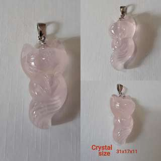 🌸Madagasca Rose quartz 9 Tailed Fox Fairy pendant.(马粉九尾狐仙吊坠)