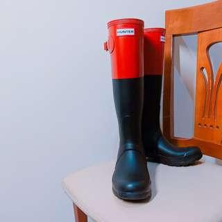 🚚 Hunter black&red拼接長筒雨靴
