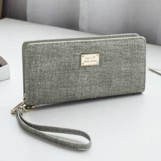 [PRE-ORDER] Women Washed Retro Long Zippered Wallet Ladies Fashion Large Capacity Hand Wallet [Light Grey/Blue/Dark Grey/Cream]