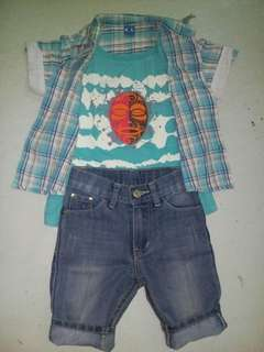 Polo shirt and denim shorts for kids