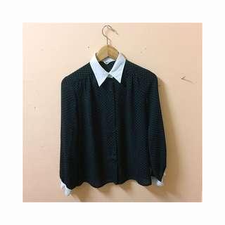 Vintage black polkadot shirt