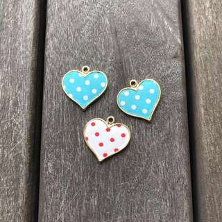 Gold heart charm with polka dot fabric - Charms clearance!