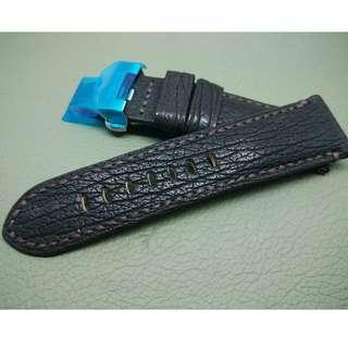 24mm錶帶 100% 大鯊魚皮帶 Panerai citizen TUDOR SEIKO (ref:2422鯊魚黑色啡線)
