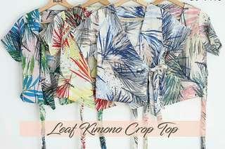 Atasan kimono crop biru
