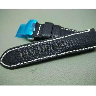 24mm錶帶 100% 大鯊魚皮帶 Panerai citizen TUDOR SEIKO (ref:2422鯊魚黑色米白線)