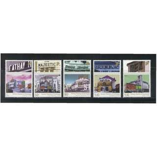 SINGAPORE 2009 CINEMA THEATRES OF YESTERYEAR COMP. SET OF 5 STAMPS IN MINT MNH UNUSED CONDITION