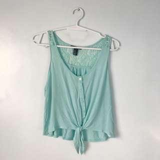 F21 light blue sleeveless top