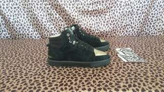 YSL Yvest Saint Laurent Suede Black Gold Sneaker Second