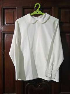 White Baby Collar Top