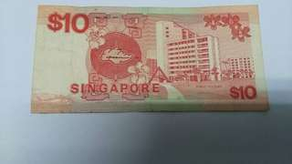 1979 SINGAPORE PAPER MONEY - 10 DOLLARS BANKNOTE!