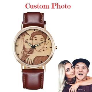 [SALES]🔳PERSONALIZED | CUSTOMIZED | CUSTOM MADE PHOTO PRINT SOFT RED & BLACK LEATHER WATCH UNISEX | MEN | WOMEN COUPLE BIRTHDAY | ANNIVERSARY GIFT MEANINGFUL GIFT🔳