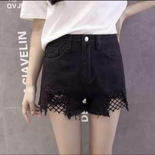 Fish net denim shorts