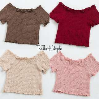PO Cropped Off Shoulders Smocked Top
