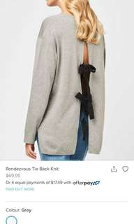 Tie back knit