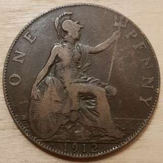 1912 Great Britain King George V Penny Coin