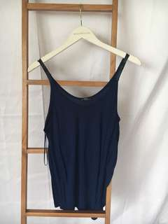 ZARA navy tank top with leather straps