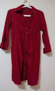 Bershka Red dress with pocket