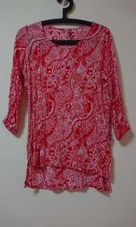Red Batik Jogger Top
