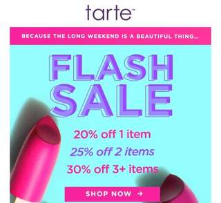 TARTE WEEKEND SALE!!