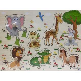 Wooden Peg Puzzles - Zoo