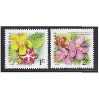 SINGAPORE 2010 FLORA (SIMPOH AIR & RHODODENDRON) COMP. SET OF 2 STAMPS IN MINT MNH UNUSED CONDITION