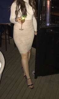 Nude bodysuit and skirt outfit size small
