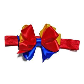 Elastic Headband- Handmade Korean Style Colorful  Snow White Triple Boutique Hair Bow Red Elastic Headband