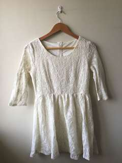 Cream Lace Mini Dress with Zipper